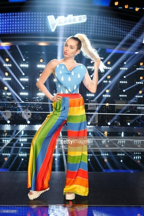 "THE VOICE -- ""Knockout Reality"" -- Pictured: Miley Cyrus -- (Photo by: Trae Patton/NBC/NBCU Photo Bank)"